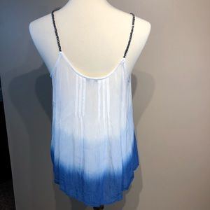 Patrons of Peace Tops - Patrons of Peace Blue Ombré Beaded Tank Small